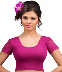 Magenta Color Cotton Lycra Readymade Stretchable Blouses (34,36,38,40,42): Nirtisha Collection  YF-42594