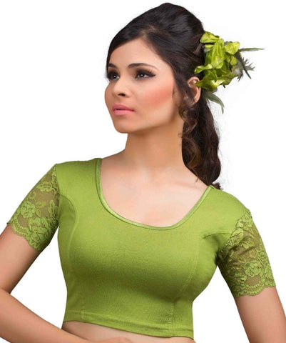 Mehendi Green Color Cotton Lycra Readymade Stretchable Blouses (32,34,36,38,40,42): Krishma Collection  YF-44766