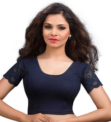 Navy Blue Color Cotton Lycra Readymade Stretchable Blouses (32,34,36,38,40,42): Krishma Collection  YF-44773
