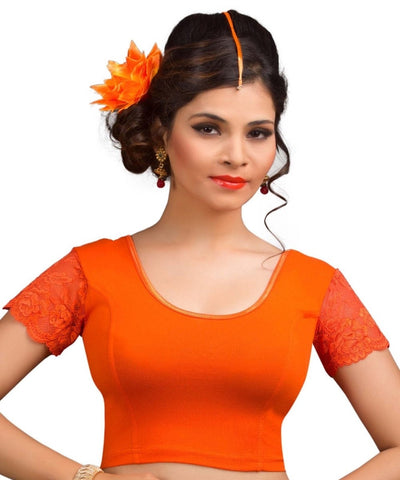 Orange Color Cotton Lycra Readymade Stretchable Blouses (34,36,38,40,42): Nirtisha Collection  YF-42599