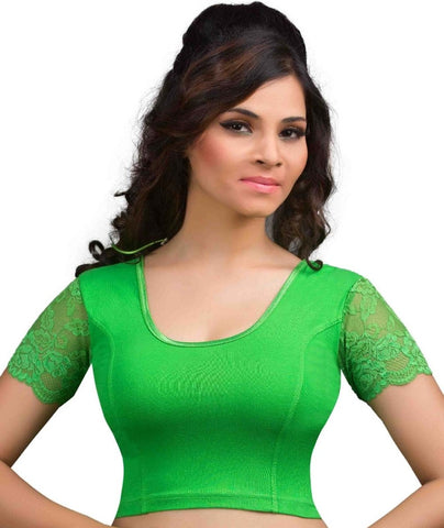 Parrot Green Color Cotton Lycra Readymade Stretchable Blouses (32,34,36,38,40,42): Krishma Collection  YF-44780