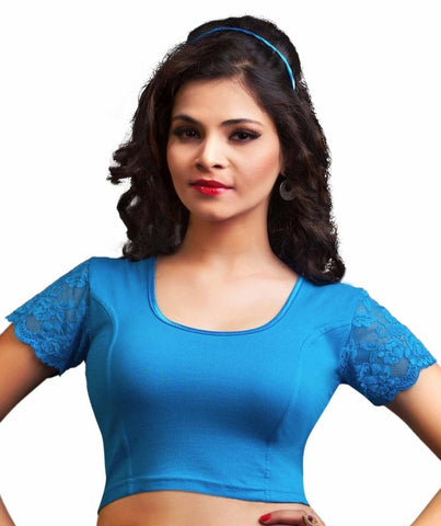 Peacock Blue Color Cotton Lycra Readymade Stretchable Blouses (34,36,38,40,42): Nirtisha Collection  YF-42604