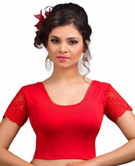 Red Color Cotton Lycra Readymade Stretchable Blouses (34,36,38,40,42): Nirtisha Collection  YF-42614