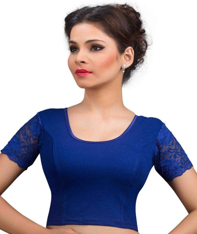 Royal Blue Color Cotton Lycra Readymade Stretchable Blouses (32,34,36,38,40,42): Krishma Collection  YF-44801