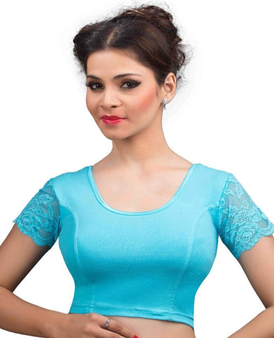 Sky Blue Color Cotton Lycra Readymade Stretchable Blouses (32,34,36,38,40,42): Krishma Collection  YF-44808