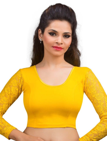 Dark Yellow Color Cotton Lycra Readymade Stretchable Blouses (34,36,38,40,42): Nirtisha Collection  YF-42624