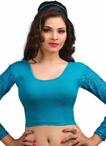 Blue Color Cotton Lycra Readymade Stretchable Blouses (34,36,38,40,42): Nirtisha Collection  YF-42629
