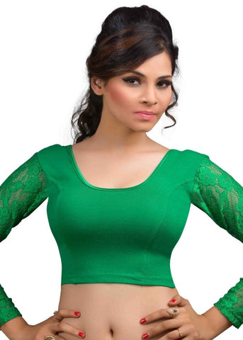 Green Color Cotton Lycra Readymade Stretchable Blouses (32,34,36,38,40,42): Krishma Collection  YF-44822