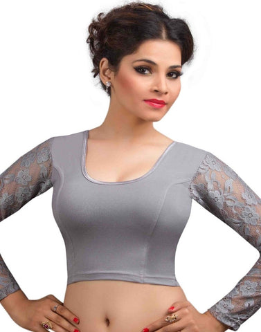 Grey Color Cotton Lycra Readymade Stretchable Blouses (32,34,36,38,40,42): Krishma Collection  YF-44829
