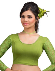 Mehendi Green Color Cotton Lycra Readymade Stretchable Blouses (32,34,36,38,40,42): Krishma Collection  YF-44836