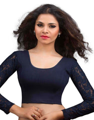 Navy Blue Color Cotton Lycra Readymade Stretchable Blouses (32,34,36,38,40,42): Krishma Collection  YF-44843
