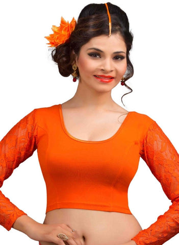 Orange Color Cotton Lycra Readymade Stretchable Blouses (32,34,36,38,40,42): Krishma Collection  YF-44850
