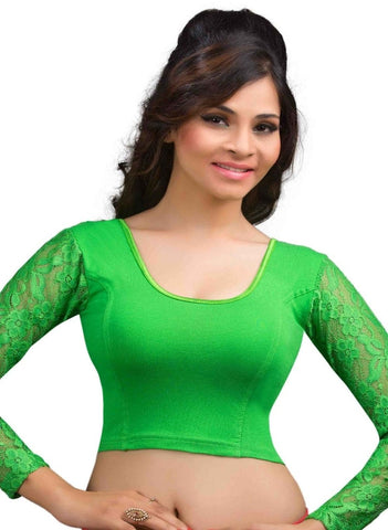 Parrot Green Color Cotton Lycra Readymade Stretchable Blouses (32,34,36,38,40,42): Krishma Collection  YF-44857