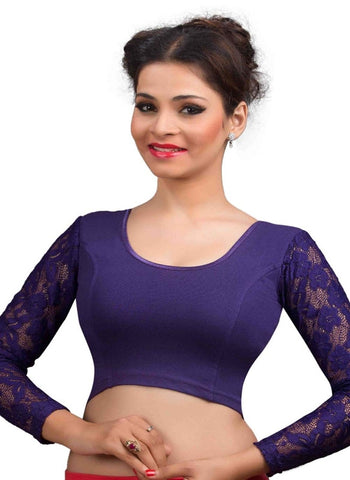 Purple Color Cotton Lycra Readymade Stretchable Blouses (32,34,36,38,40,42): Krishma Collection  YF-44864