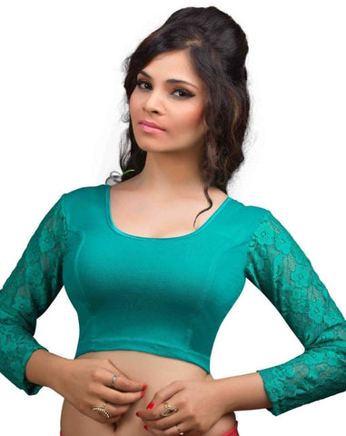 Rama Green Color Cotton Lycra Readymade Stretchable Blouses (32,34,36,38,40,42): Krishma Collection  YF-44871
