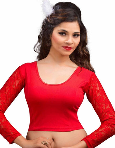 Red Color Cotton Lycra Readymade Stretchable Blouses (34,36,38,40,42): Nirtisha Collection  YF-42649