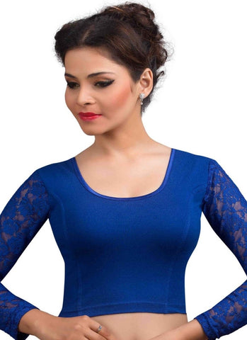 Royal Blue Color Cotton Lycra Readymade Stretchable Blouses (32,34,36,38,40,42): Krishma Collection  YF-44878