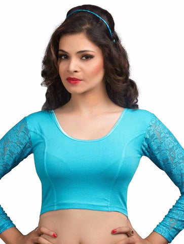 Sky Blue Color Cotton Lycra Readymade Stretchable Blouses (34,36,38,40,42): Nirtisha Collection  YF-42654