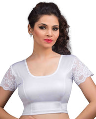 silver Color Cotton Lycra Readymade Stretchable Blouses (34,36,38,40,42): Nirtisha Collection  YF-42689