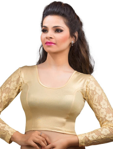 gold Color Cotton Lycra Readymade Stretchable Blouses (34,36,38,40,42): Nirtisha Collection  YF-42694