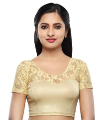 Gold Color Cotton Lycra Readymade Stretchable Blouses (34,36,38,40,42): Nirtisha Collection  YF-42739