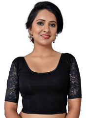 Black Color Cotton Lycra Non Padded Stretchable Blouses (30,32,34,36,38,40,42,44): Anjali Collection  YF-54177