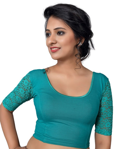 Firozi Color Cotton Lycra Non Padded Stretchable Blouses (30,32,34,36,38,40,42,44): Anjali Collection  YF-54209