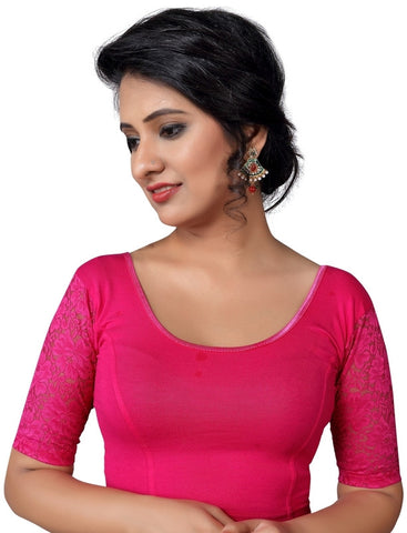 Pink Color Cotton Lycra Non Padded Stretchable Blouses (30,32,34,36,38,40,42,44): Anjali Collection  YF-54265