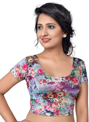 Multi Color Nylon Lycra Non Padded Stretchable Blouses (30,32,34,36,38,40,42,44): Anjali Collection  YF-54289