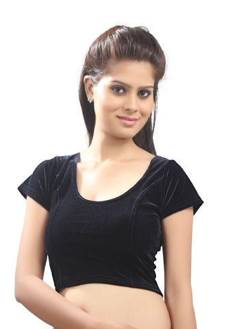 Black Color Strech Velvet Stretchable Daily Wear Blouses (Fits From 30 To 36 ): Samita Collection  YF-40053