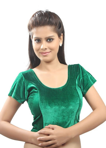 Green Color Strech Velvet Stretchable Daily Wear Blouses (Fits From 30 To 36 ): Samita Collection  YF-40054