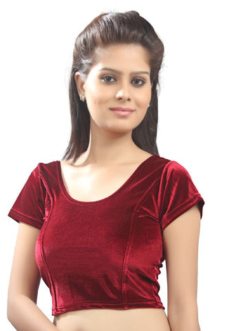Maroon Color Strech Velvet Stretchable Daily Wear Blouses (Fits From 30 To 36 ): Samita Collection  YF-40055