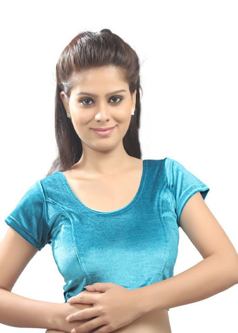 Sky-blue Color Strech Velvet Stretchable Daily Wear Blouses (Fits From 30 To 36 ): Samita Collection  YF-40051