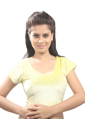Yellow Color Strech Velvet Stretchable Daily Wear Blouses (Fits From 30 To 36 ): Samita Collection  YF-40052