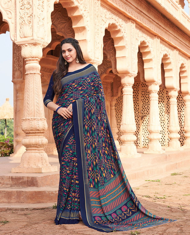 Navy Blue Color Italian Crepe Casual Wear -  Aanya Collection  YF#10779