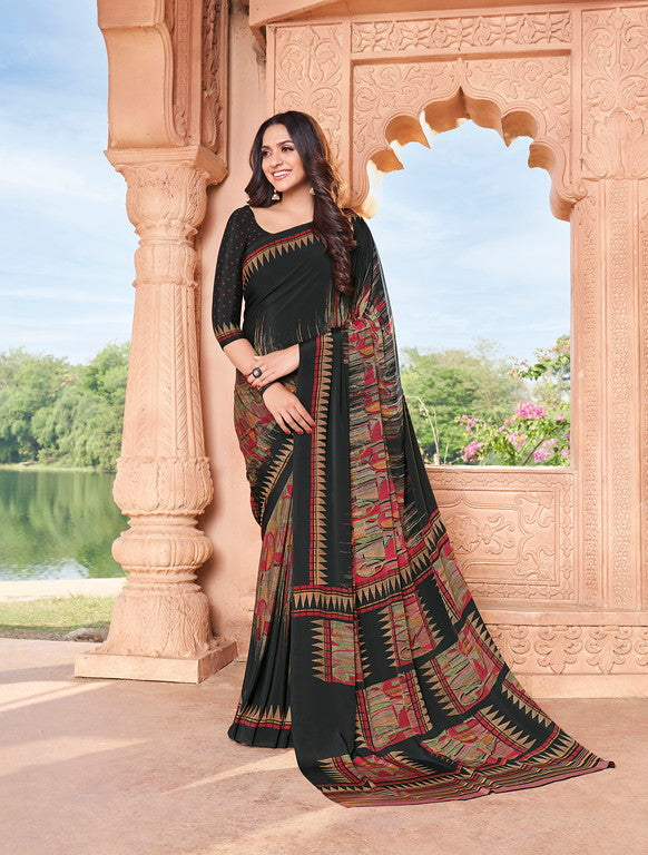 Black Color Italian Crepe Casual Wear -  Aanya Collection  YF#10786