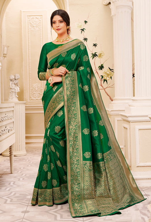Bottle Green Color Banarsi Silk  Festive Sarees Hyena Collection   YF#10017