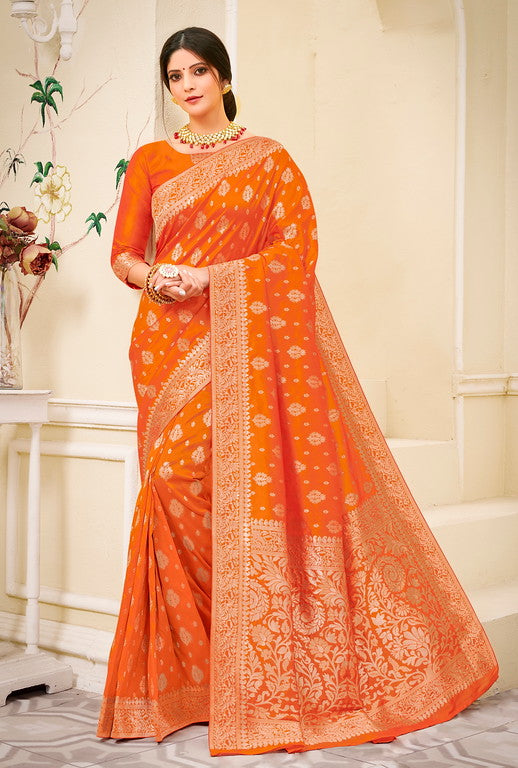 Orange Color Banarsi Silk  Festive Sarees Hyena Collection   YF#10011