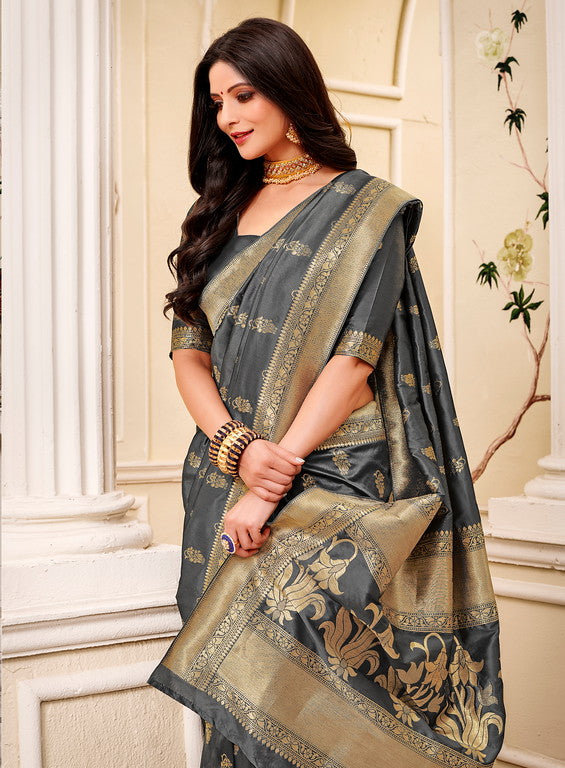 Grey Color Banarsi Silk  Festive Sarees Hyena Collection   YF#10004