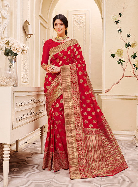Red Color Banarsi Silk  Festive Sarees Hyena Collection   YF#10013
