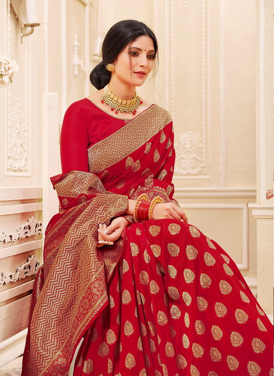 Red Color Banarsi Silk  Festive Sarees Hyena Collection   YF#10014