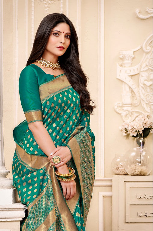Green Color Banarsi Silk  Festive Sarees Hyena Collection   YF#10006