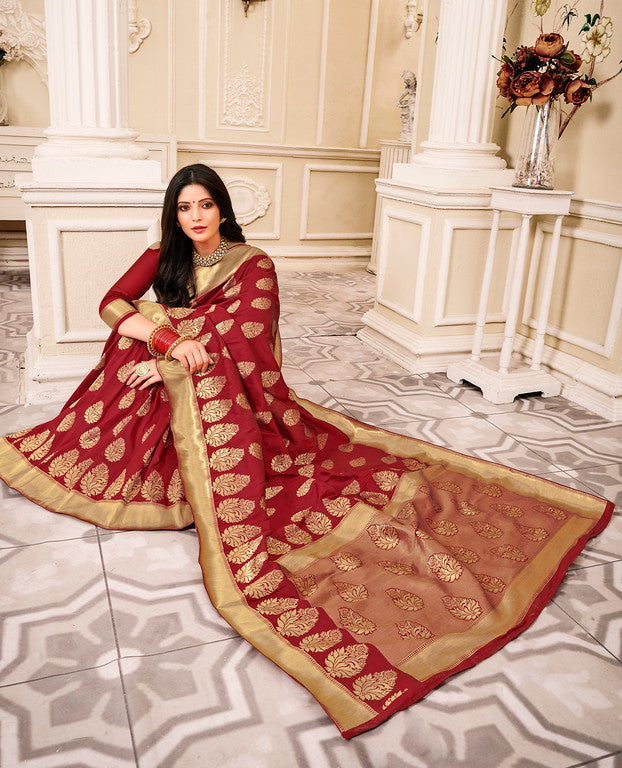 Maroon Color Banarsi Silk  Festive Sarees Hyena Collection   YF#10008