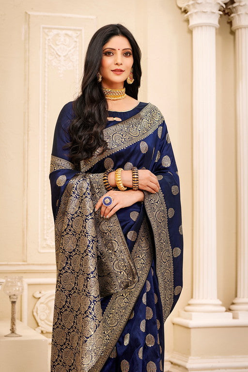Navy Blue Color Banarsi Silk  Festive Sarees  Hyena Collection   YF#10002