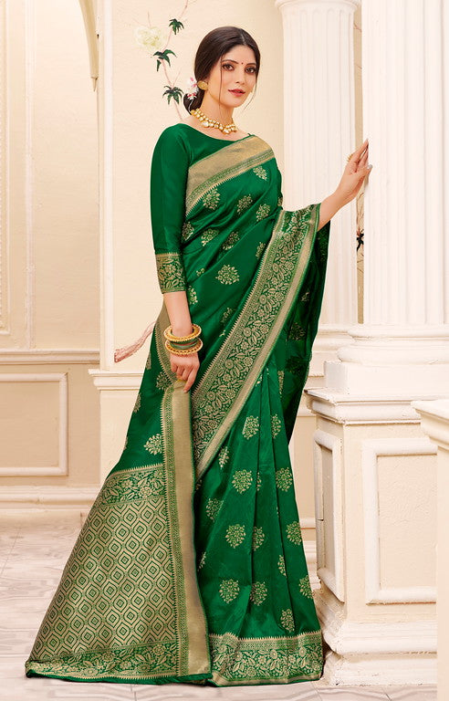 Bottle Green Color Banarsi Silk  Festive Sarees Hyena Collection   YF#10018