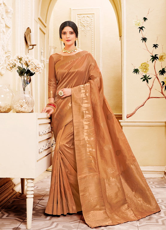 Rust Color Banarsi Silk  Festive Sarees Hyena Collection   YF#10015