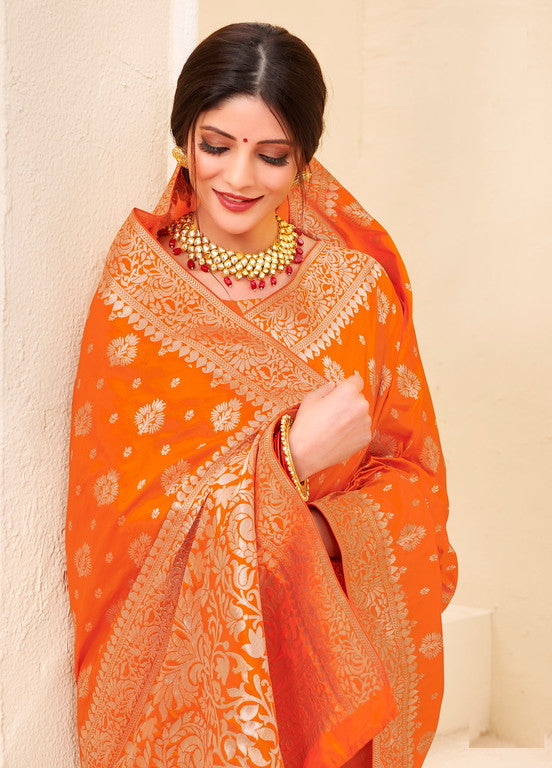 Orange Color Banarsi Silk  Festive Sarees Hyena Collection   YF#10012