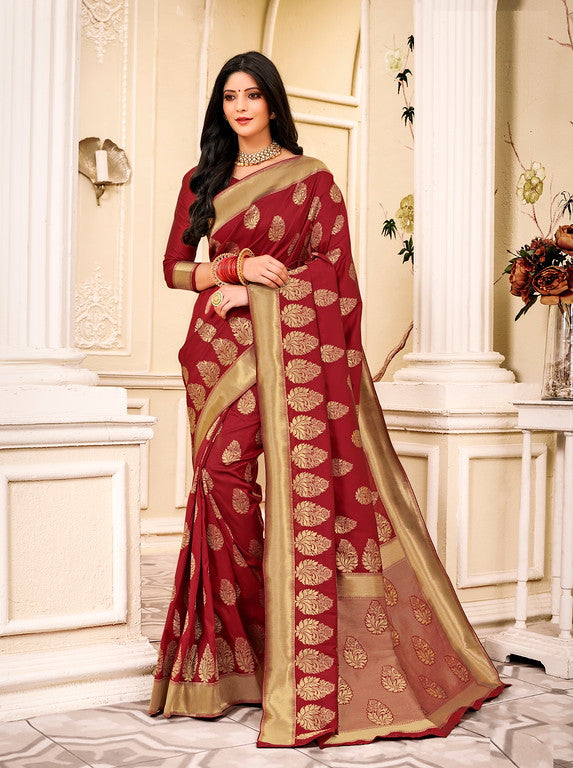 Maroon Color Banarsi Silk  Festive Sarees Hyena Collection   YF#10007