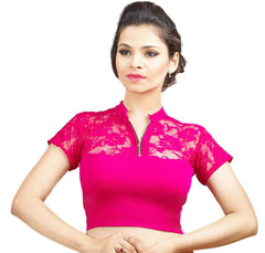 Pink Color Cotton Lycra Stretchable Party Wear Blouses (32,34,36): Kshitija Collection  YF-41816