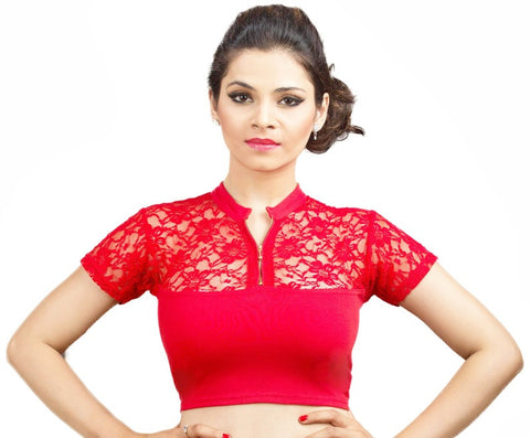 Red Color Cotton Lycra Stretchable Party Wear Blouses (32,34,36): Kshitija Collection  YF-41804